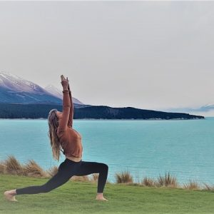 yoga by lake aoraki mt cook