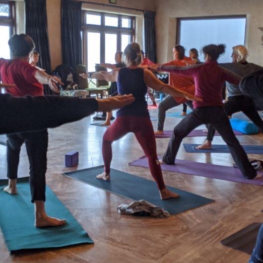 yoga calss in beautiful lodge