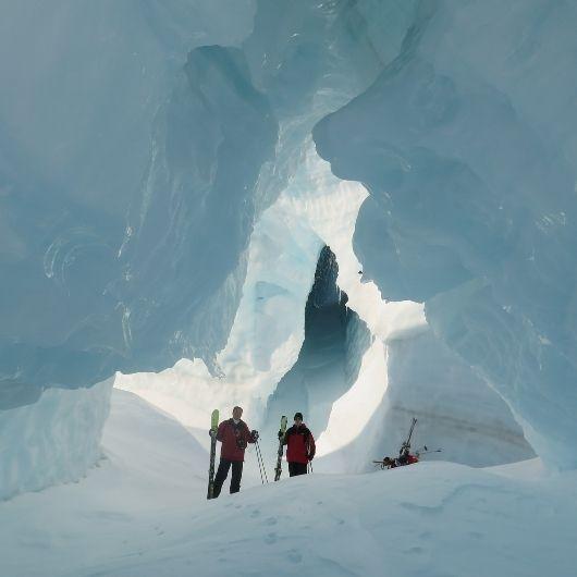exploring ice caves on Tasman Glacier