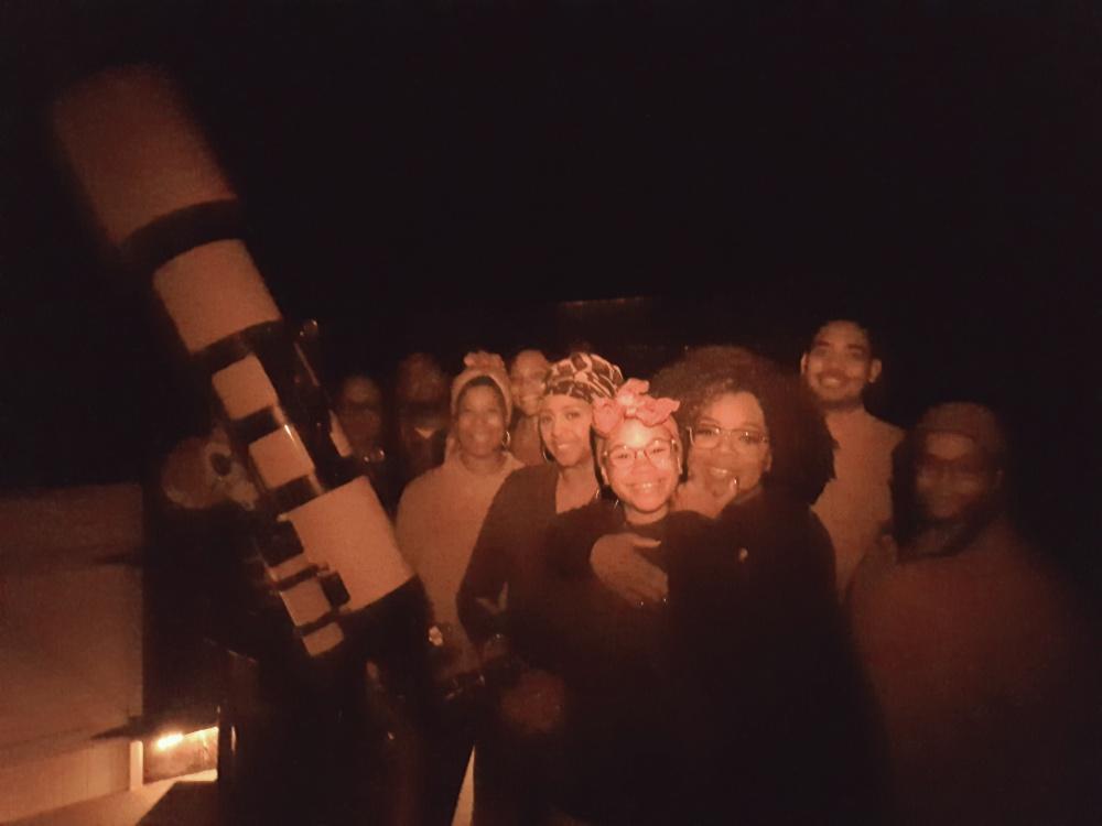 oprah winfrey and storm reid stargazing at pukaki wine cellar and observatory