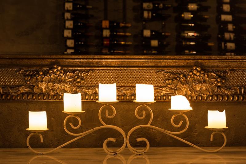 pukaki wine cellar and observatory candelabra